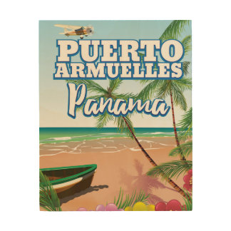 Puerto Armuelles Panama Ferien-Reiseplakat Holzleinwand