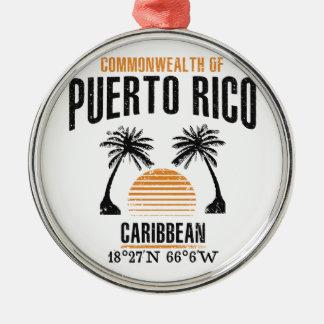 Puerto Rico Silbernes Ornament
