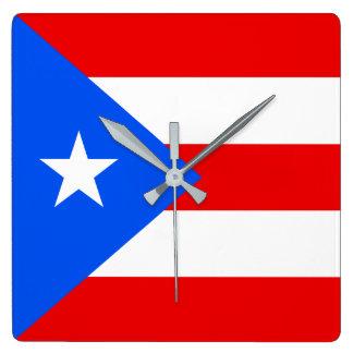 Puerto- Ricoflagge Quadratische Wanduhr
