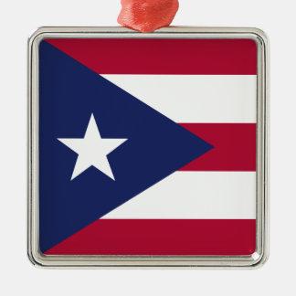 Puerto- Ricoflagge Silbernes Ornament