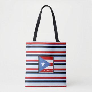 Puerto Ricoflagge und -streifen personalisiert Tasche