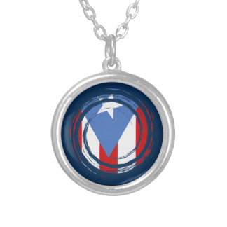 Puerto- Ricoflagge Versilberte Kette