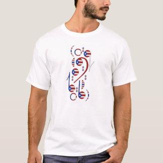 Puerto- Ricoflaggen-musikalische Anmerkungs-Männer T-Shirt