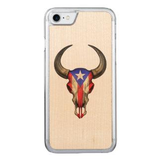 Puerto- Ricoflaggen-Stier-Schädel Carved iPhone 8/7 Hülle
