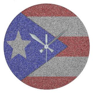 Puertorikanische Flagge Große Wanduhr