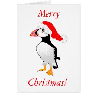 Puffin mit Weihnachtsmannmütze Karte