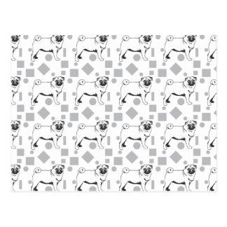 Pug pattern postkarte