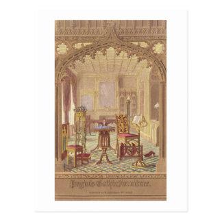 Pugins gotische Möbel, durch Augustus Charles Pugi Postkarte