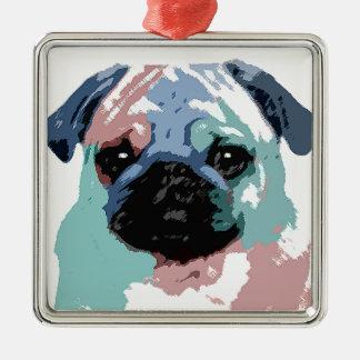 Pugly Quadratisches Silberfarbenes Ornament