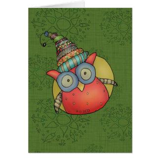 Puki die Feiertags-Eule Grußkarte