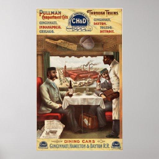 Pullman-Speisewagen auf Zug Plakat