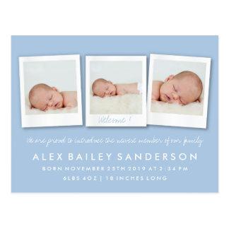 Pulver-Blau-Geburts-Mitteilungs-Dreiergruppen-Foto Postkarte