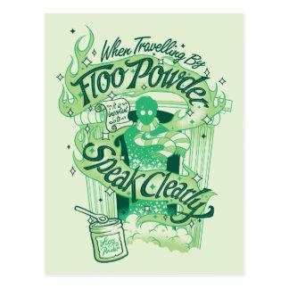 Pulver-Typografie-Grafik Harry Potters | Floo Postkarte