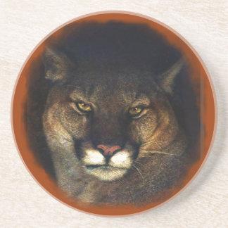 Puma-Berglöwe-große Katzen-Kunst-Entwurf 3 Sandstein Untersetzer