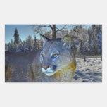 Puma-Berglöwe-u. Winter-Baum-Tier-Bild Rechteckiger Aufkleber