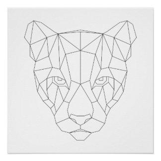 Puma-geometrischer schwarzer u. weißer poster