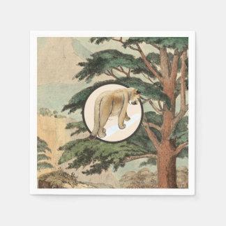 Puma in der natürlicher Lebensraum-Illustration Serviette