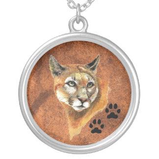 Puma, Puma, Berglöwe - Tier - Natur Halskette Mit Rundem Anhänger