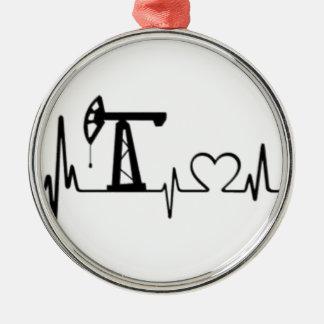 Pumpen-Jack-Herzschlag Silbernes Ornament