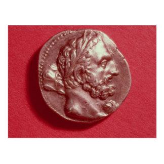 Punic Münze, die den Kopf von Hamilcar Barca trägt Postkarte