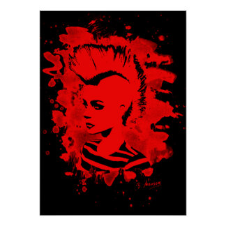 Punk Girl – bleached red Poster