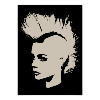 Punk Girl – unichrome print - creme white. Poster