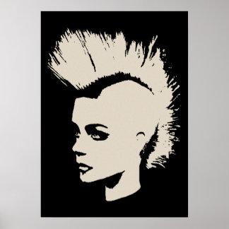 Punk Girl – unichrome print - creme white. Poster