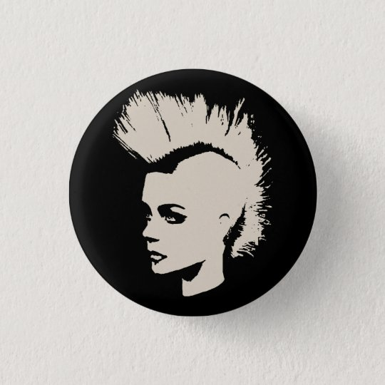 Punk Girl – unichrome print - creme white Runder Button 3,2 Cm