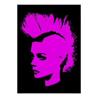 Punk Girl – unichrome print - pink. Poster