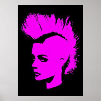 Punk Girl – unichrome print - pink. Poster