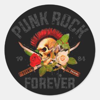Punkrock für immer runder aufkleber