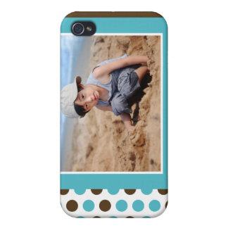 Punkt-Foto-Gewohnheit (Aqua) iPhone 4 Etui