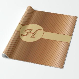Punkt-Verpackungs-Papier des Monogramm-H goldenes Geschenkpapier
