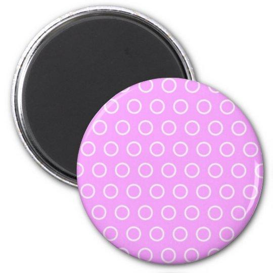 pünktchen lila pink rosa punkte polka dots tupfen runder magnet 5,1 cm