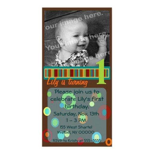 Punkte und Streifen-Foto-Karte - Braun und Grüntön Fotogrußkarten