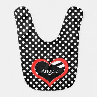 Punktiert Herz-Schwarzes/Weiß n mit Monogramm Babylätzchen