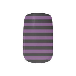 Punky Goth schwarze und lila Streifen Minx Nagelkunst