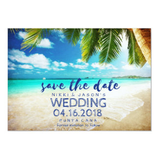 Punta Cana Strand-Hochzeit in Urlaubsort retten 12,7 X 17,8 Cm Einladungskarte