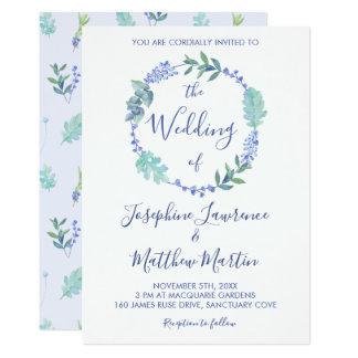 Puple Frühlings-BlumenKranz-Hochzeits-Einladungen Karte