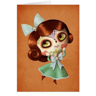 Puppe Dia de Los Muertos Vintage Karte