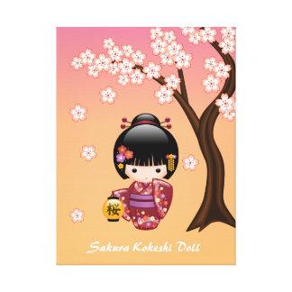 Puppe Kirschblütes Kokeshi - Geisha-Mädchen auf Leinwanddruck