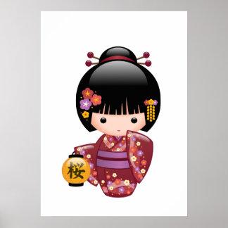 Puppe Kirschblütes Kokeshi - Geisha-Mädchen auf Poster