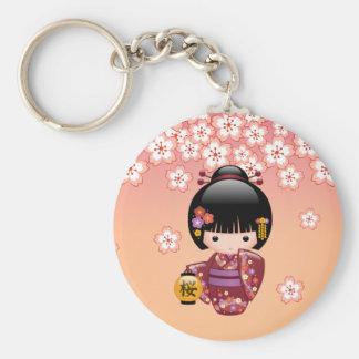 Puppe Kirschblütes Kokeshi - Geisha-Mädchen auf Schlüsselanhänger