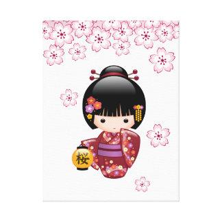 Puppe Kirschblütes Kokeshi - niedliches Leinwanddruck