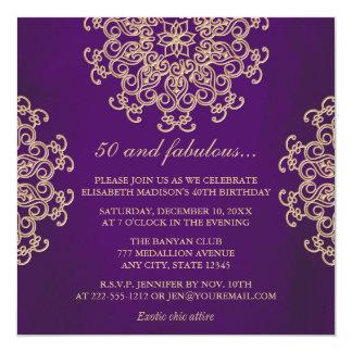 PUPPLE UND GOLDindischer INSPIRIERTER GEBURTSTAG Quadratische 13,3 Cm Einladungskarte