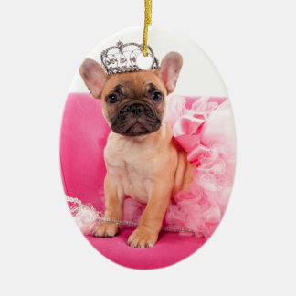 Puppy french bulldog disguised ovales keramik ornament