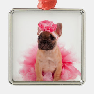 Puppy french bulldog disguised quadratisches silberfarbenes ornament