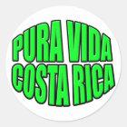 Pura Vida Costa Rica grüner Kreis Runder Aufkleber
