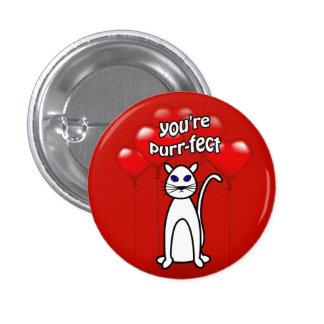 Purfect Katzen-Herz steigt Valentinsgruß-Knopf im Anstecknadelbutton