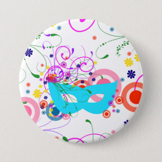 Purim Maske Runder Button 7,6 Cm